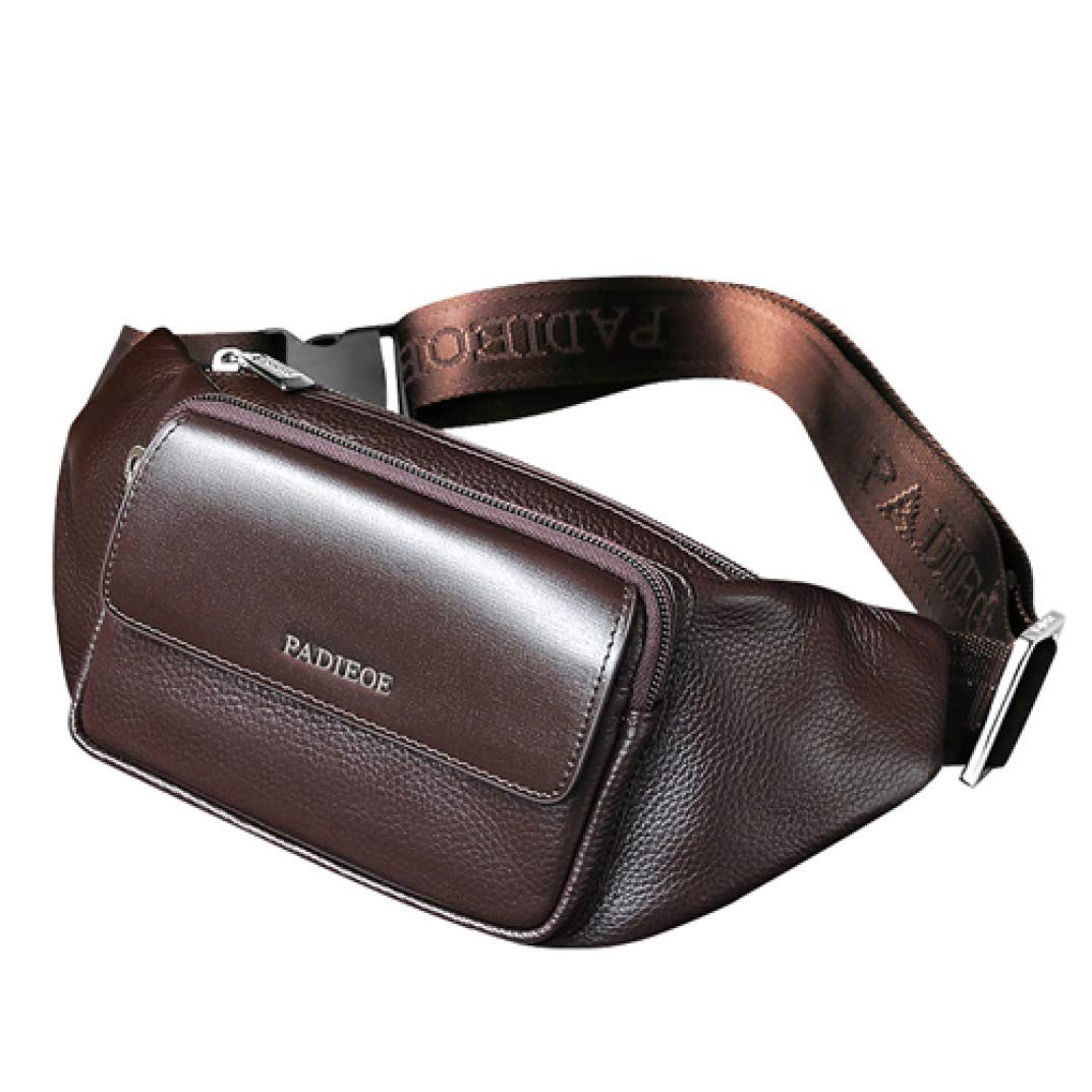 Phil Betty Mens Waist Pack Genuine Leather Unisex Adjustable Fashion Business Travel Chest Crossbody Fanny Pack by Phil Betty