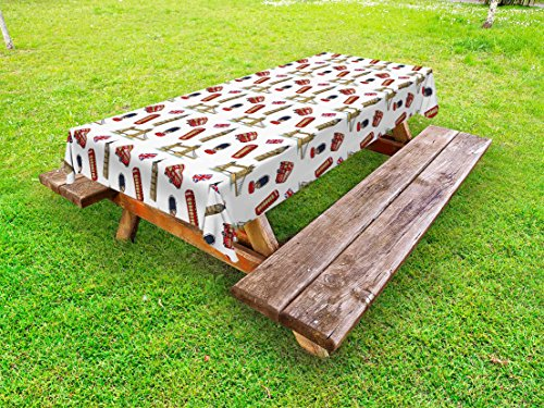 Ambesonne London Outdoor Tablecloth, Big Ben Tower Bridge Royal Guard Telephone Double Decker and UK Flag, Decorative Washable Picnic Table Cloth, 58 X 84 Inches, Violet Blue Red Sand Brown (Bridge Double Decker)