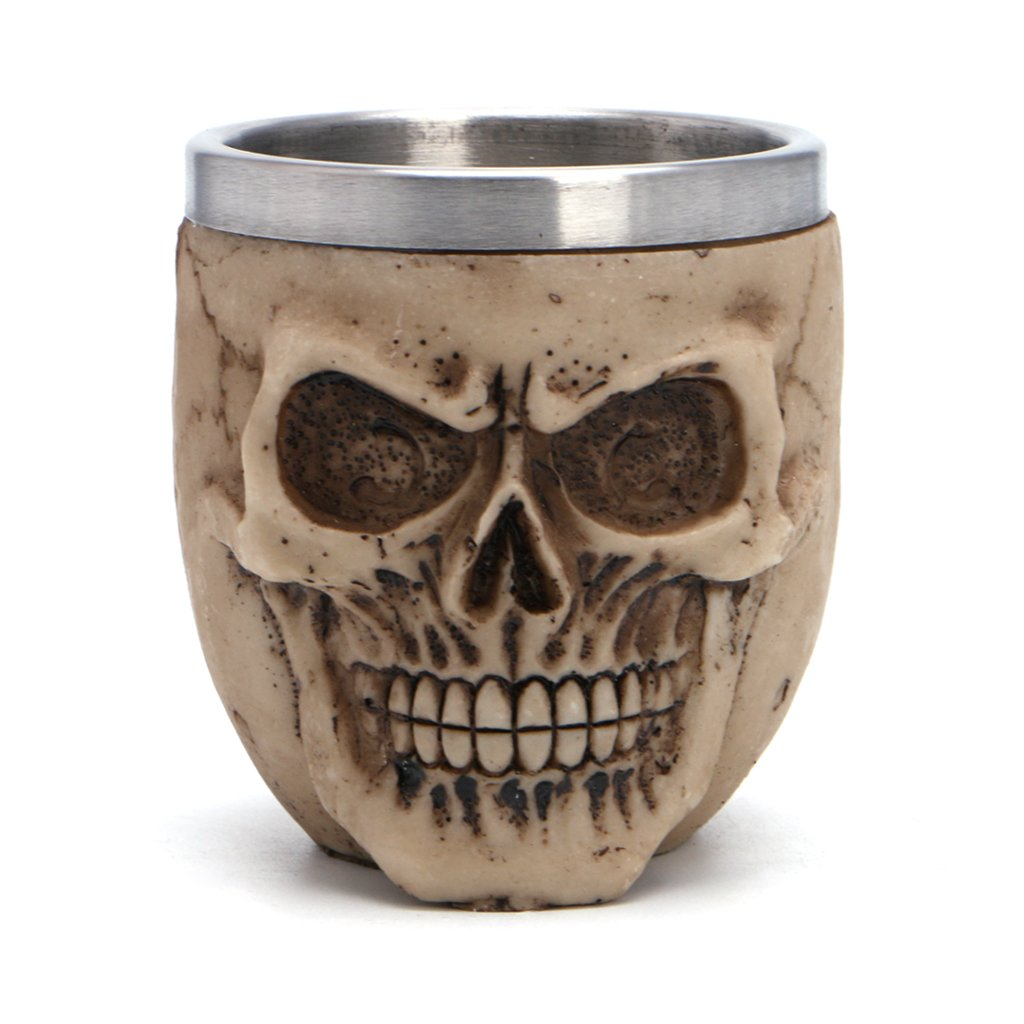 Kofun Stainless Steel Mug Stainless Steel Resin Drinking Mug Skeleton Skull Coffee Cup Halloween Decor Skulls