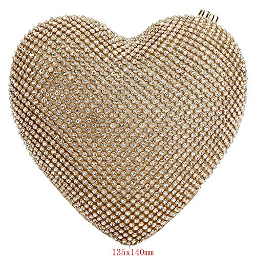 Clutch Cocktail Evening Purse Gold Wedding Bag Party Bead Fit Heart Wit Sequined Shape dr1rxU