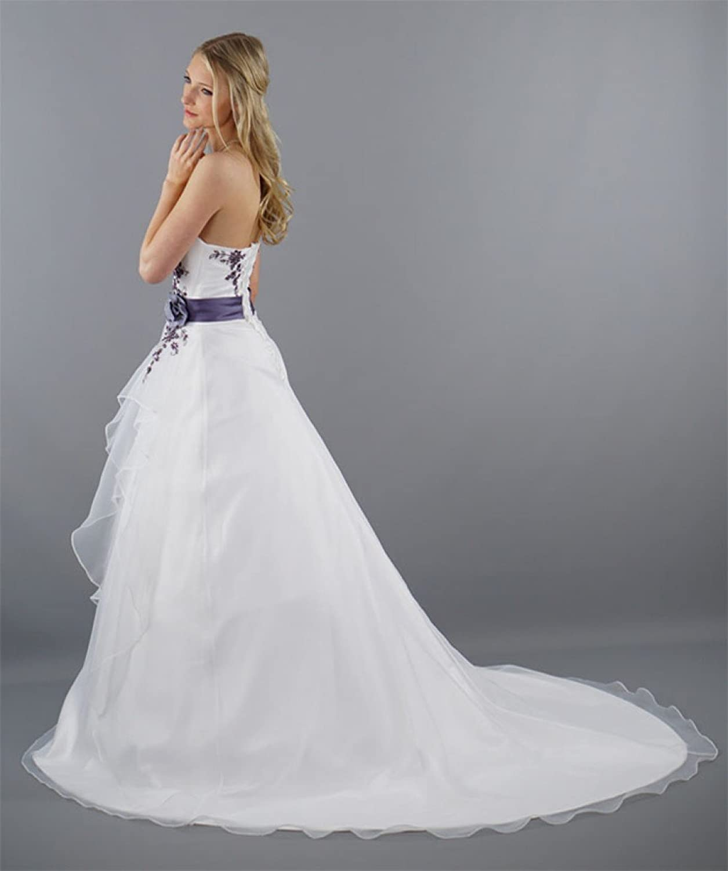 Schmetterling trägerloses Brautkleid Damen in weiß mit Lila ...