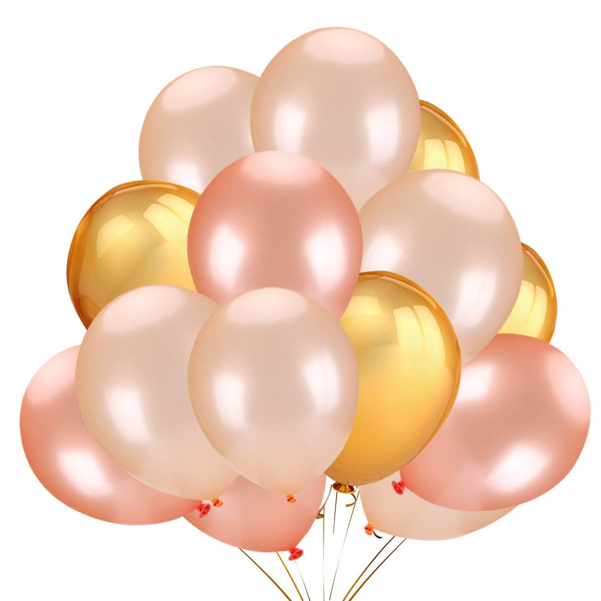 50Pcs Gold & Rose Gold & Champagne Gold Color Latex Party Balloons for Wedding Hawaii Graduation Birthday Party Decoration Supplies