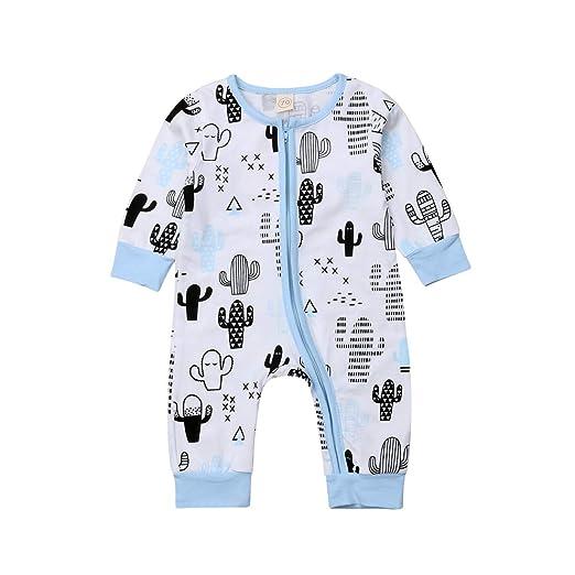 988e50bc85b7 Amazon.com  Unisex Baby Zipper Romper Long Sleeves Floral Jumpsuit ...