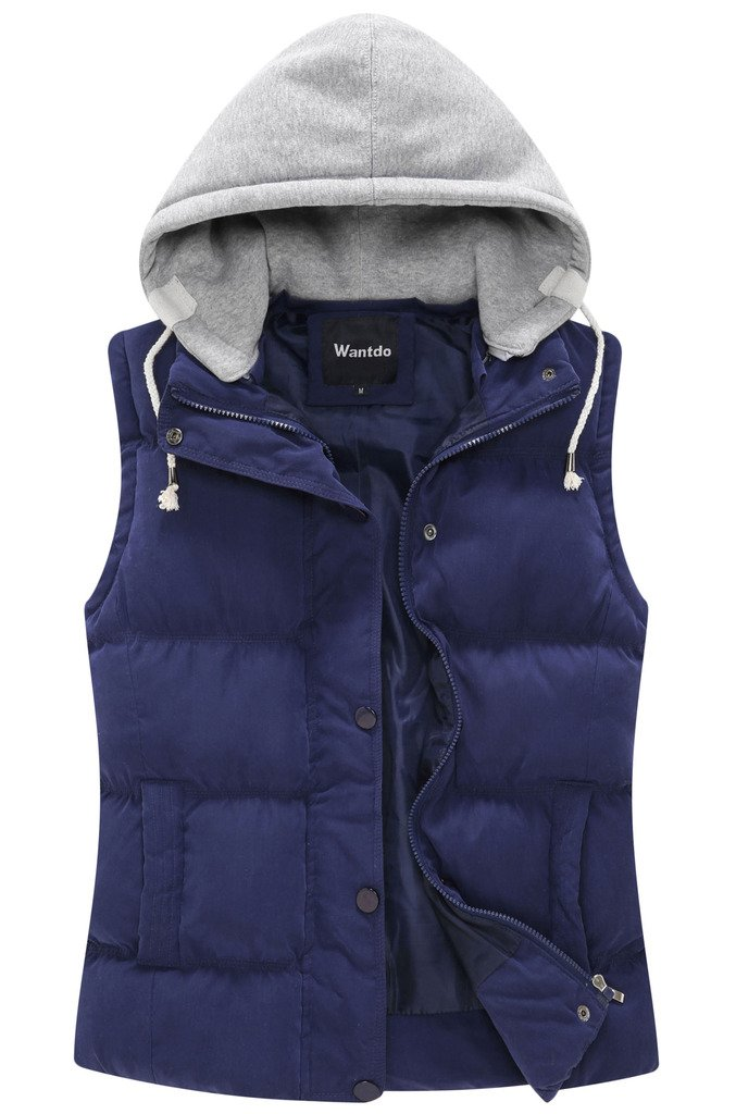 Wantdo Women's Quilted Padded Vest with Removable Hood US X-Large Navy