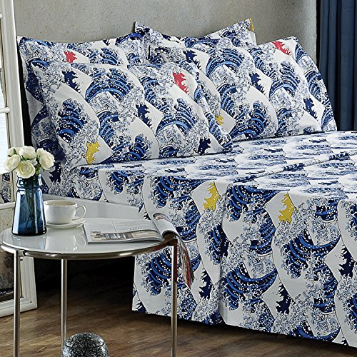 Brielle 100-Percent Cotton Flannel 4 Piece Sheet Set, Twin / Twin XL, Fuji (Flannel Shirt 5 Oz)
