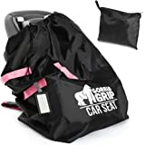 Gorilla Grip Car Seat Bag Backpack with Pouch, Free Luggage Tag, Universal Size Airplane Travel Bags Fits Most Carseats, Adjustable Padded Straps, Gate Check, Flying with Baby, Easy Carry, Pink Straps