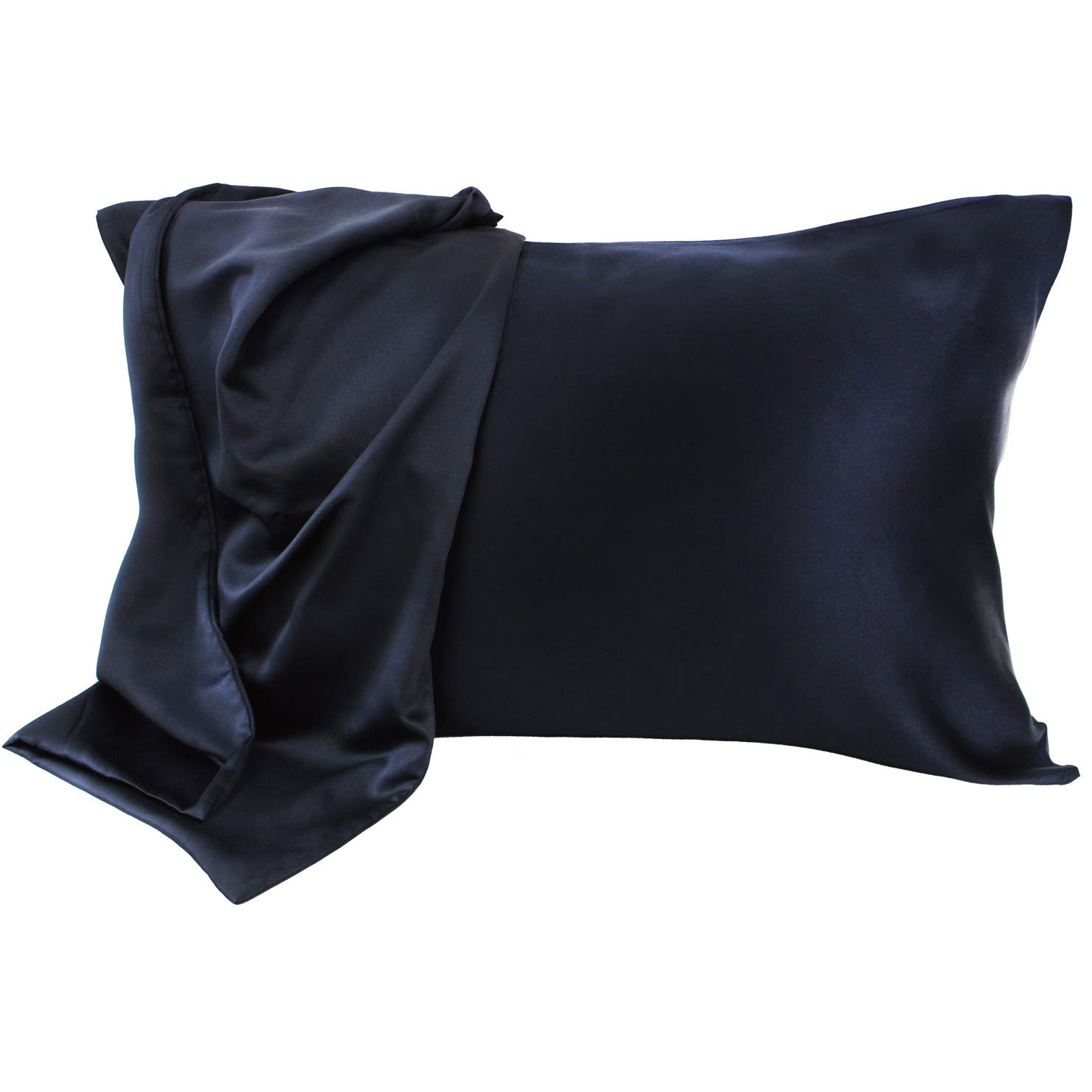 Sleep Zone Satin Pillowcases Cooling Set of 2 for Hair and Skin Standard/Queen 20x30 Pillow Cover (Queen, Black)