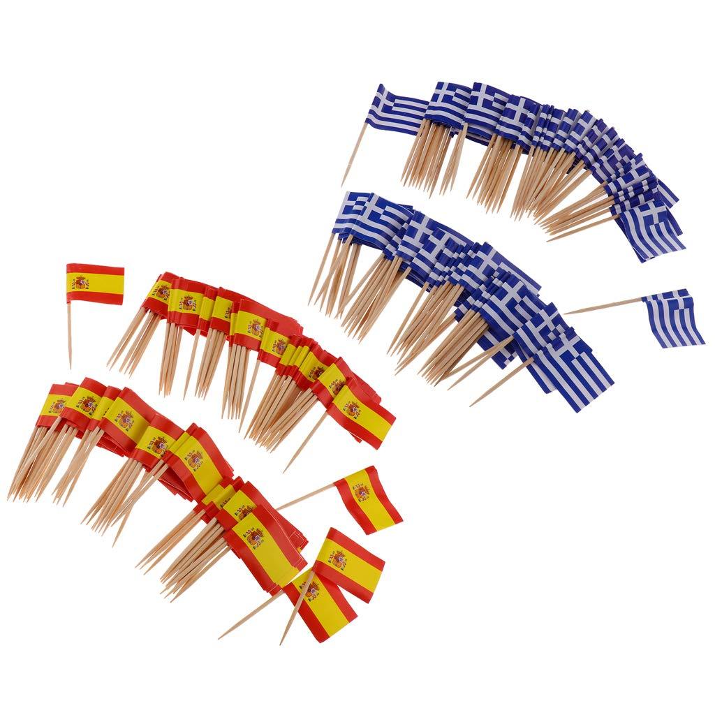 Individual 100 pcs Espa/ña PETSOLA 200 Piezas Decorativas Bandera Palillos de Fiesta Comida Decoraciones Grecia