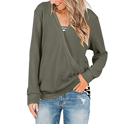 Abninigee Womens V Neck Knitted Blouses Casual Long Sleeve Wrap Tunic Tops Army Green at Amazon Women's Clothing store