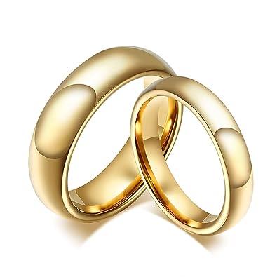 KnSam - Anillo de Compromiso de Oro de Acero Inoxidable para ...
