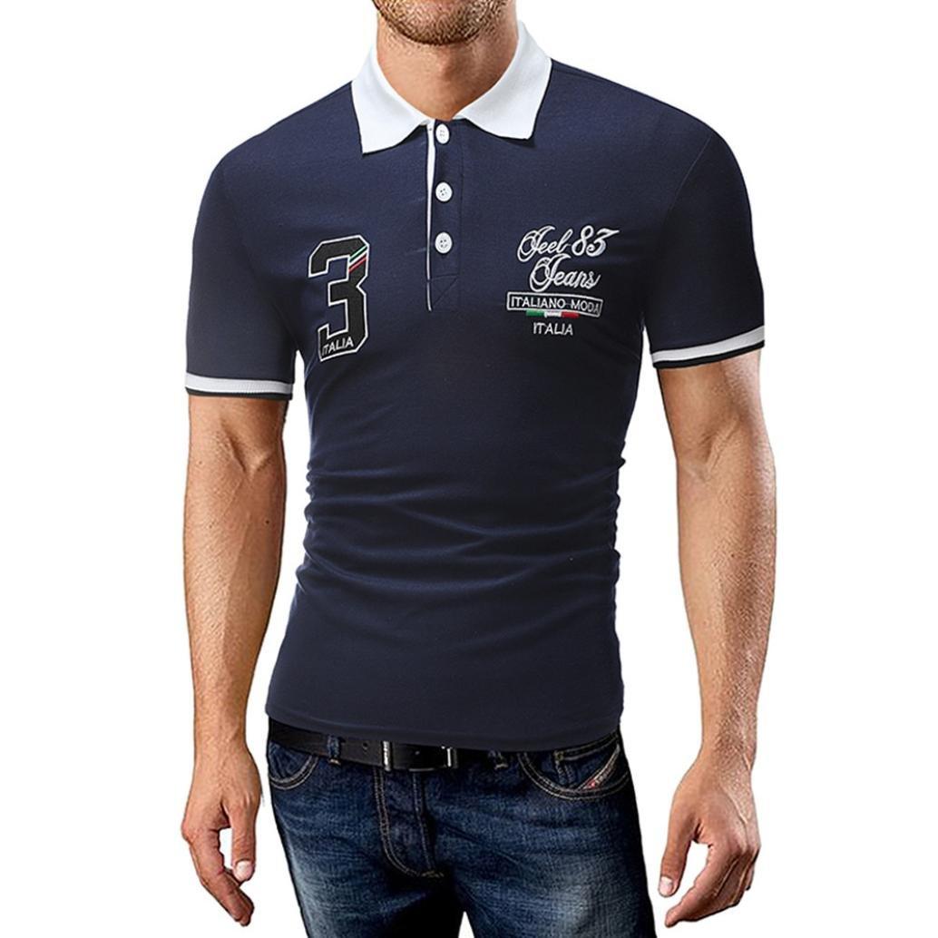 LuckyGirls Camisetas Hombre Verano Camisa Manga Cortos Estampado de Carta 3 Originales Casuales Deportivas Diseño de Botones Polos Slim Remera