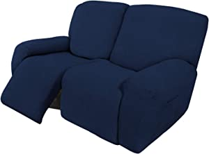 Easy-Going 6 Pieces Recliner Loveseat Stretch Sofa Slipcover Sofa Cover Furniture Protector Couch Soft with Elastic Bottom Kids, Spandex Jacquard Fabric Small Checks Navy
