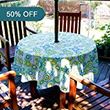 Lamberia Patio Outdoor Umbrella Tablecloth with Zipper and Umbrella Hole, Water and Stain Resistant (60'' Round, Flower Dance)