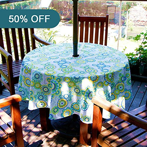 Lamberia Oval Vinyl Fabric Tablecloth Water and Stain Resistant, With Zipper and Umbrella Hole 60 Inch Round, Light Green, Seats 4 People