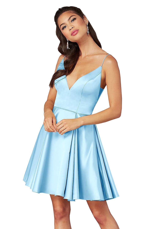 Ice bluee Beauty Bridal Women's V Neck Satin Formal Prom Dress Short Homecoming Dresses Z65