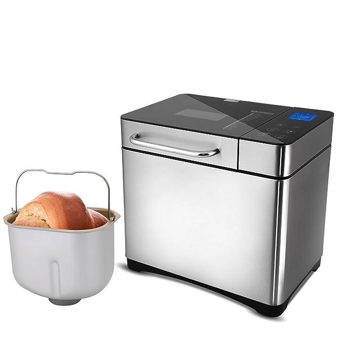 Lonlier Panificadora Acero Inoxidable 19 Programas Máquina de Pan Multifuncional 710W Capacidad 1 kg