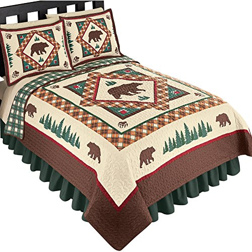 Four Seasons Quilt Shop - Collections Etc Woodland Inspired Northwoods Bear Reversible Lightweight Quilt, Brown Multi, King