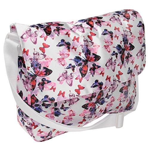 Miso mariposa Satin bolso bandolera morado/rosa para mujer Ladies hombro bolsa de vuelo, morado y rosa