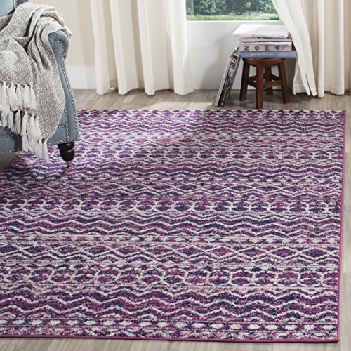 Safavieh Madison Collection MAD606M Fuchsia and Navy Bohemian Chic Area Rug (4′ x 6′)