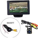 Cocar Auto HD TFT Monitor da 4.3'' LCD Telecamera + LED Universale per Visione Notturna + 6m/20FT Cavo(Parcheggio Sistema di Assistenza Kit)