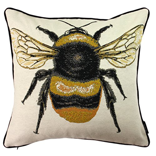 McAlister Woven Tapestry Queen Honey Bee Pillow Cover | Yellow Embroidered 16x16 Throw Cushion Case | Textured Linen, Crewel Needlepoint | Country Accent Decor