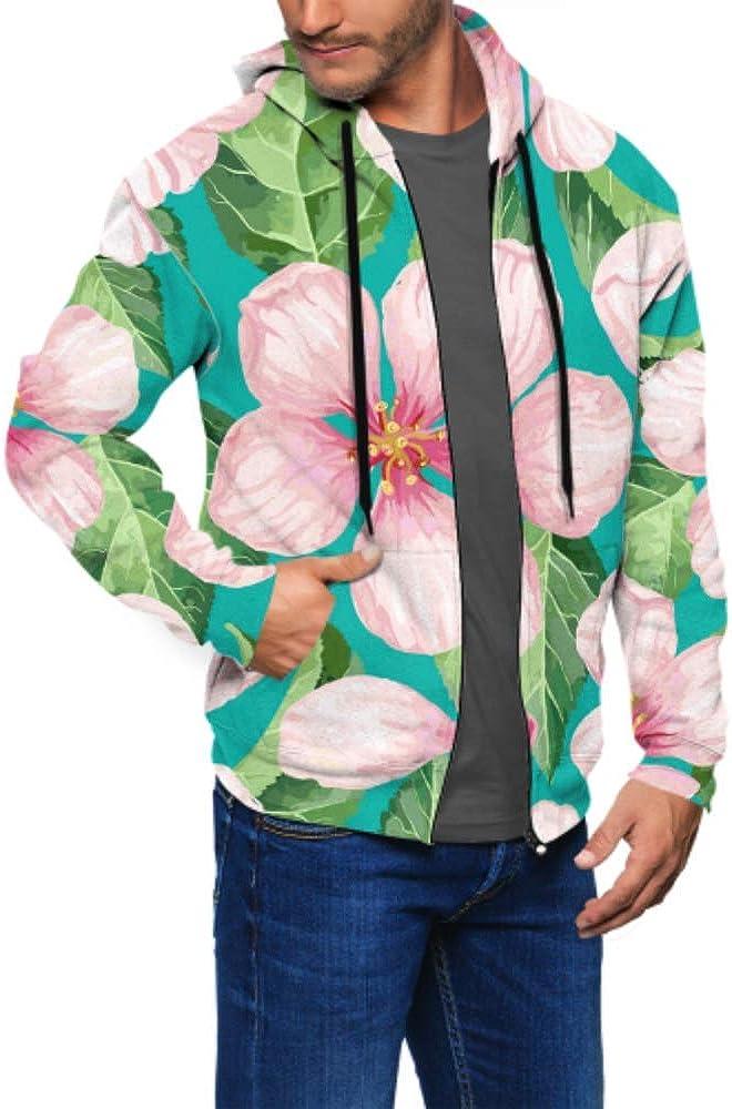 Long Sleeve Hoodie Print Apple Flowers Petals Leaves Style Jacket Zipper Coat Fashion Mens Sweatshirt Full-Zip S-3xl