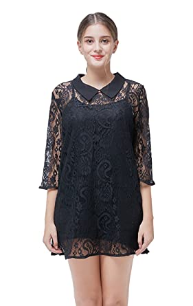 8b72ee7489 Lovelelify Women s Sexy 3 4 Sheer Sleeve Floral Lace Blouse Casual Tunic  Tops Shirts A