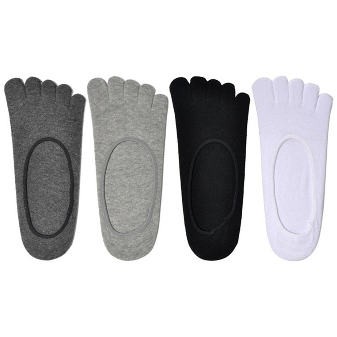 HLFaith 4 Pack Mens Low Cut Ankle Socks Sneaker Socks Cotton Non Slip Five Finger Toe Yoga Socks