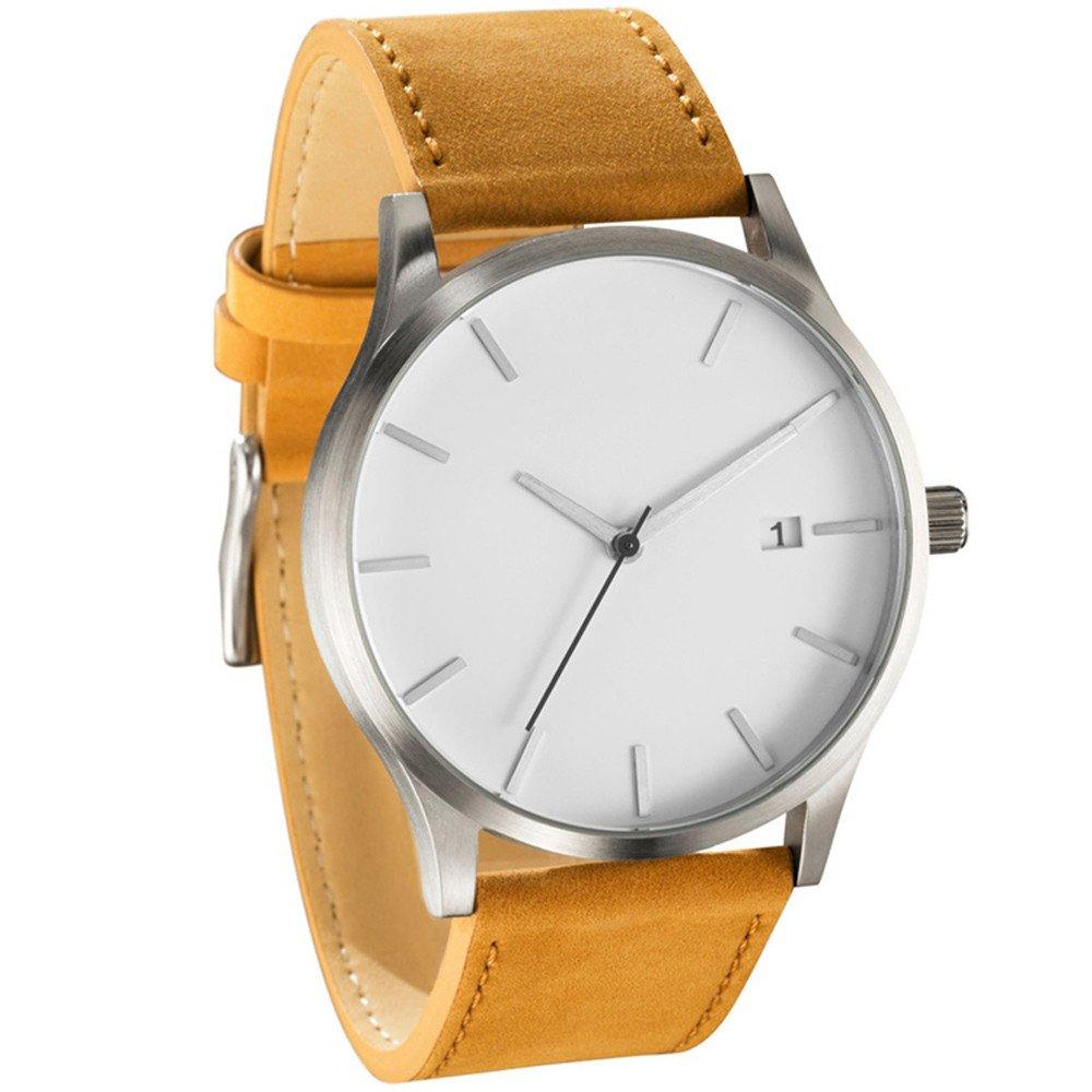 Clearance! Charberry Mens Watch Popular Low-Key Minimalist Connotation Leather Quartz Watch (D)