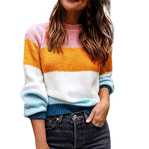 2a5dddd37d7 Staron Clearance Color Block Sweater Long Sleeve Knit Jumper Tops Loose  Blouses