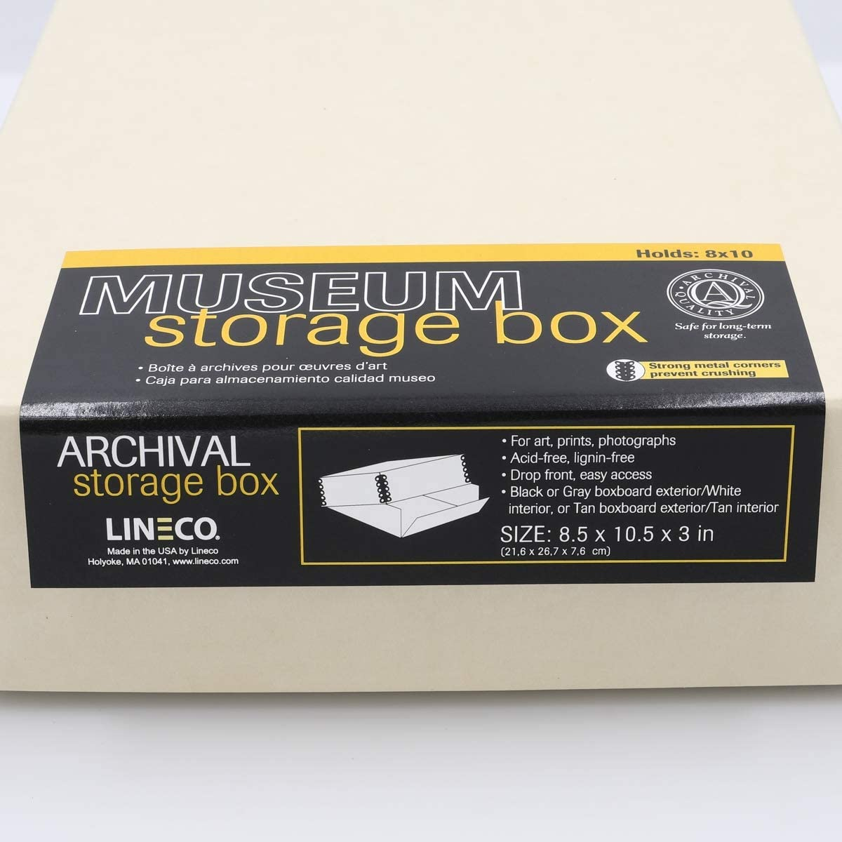 Acid-Free with Metal Edge Drop Front Design Lineco 11x14 Black Museum Archival Storage Box Protects Picture Longevity 11 1//2 x 15 x 3 in DIY. Organize Photos or Documents Crafts