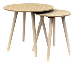 THE HOME DECO FACTORY HD3824 Tables Rondes Gigognes x2 en Bois Grave MDF Gris 53.5x53.5x56 cm