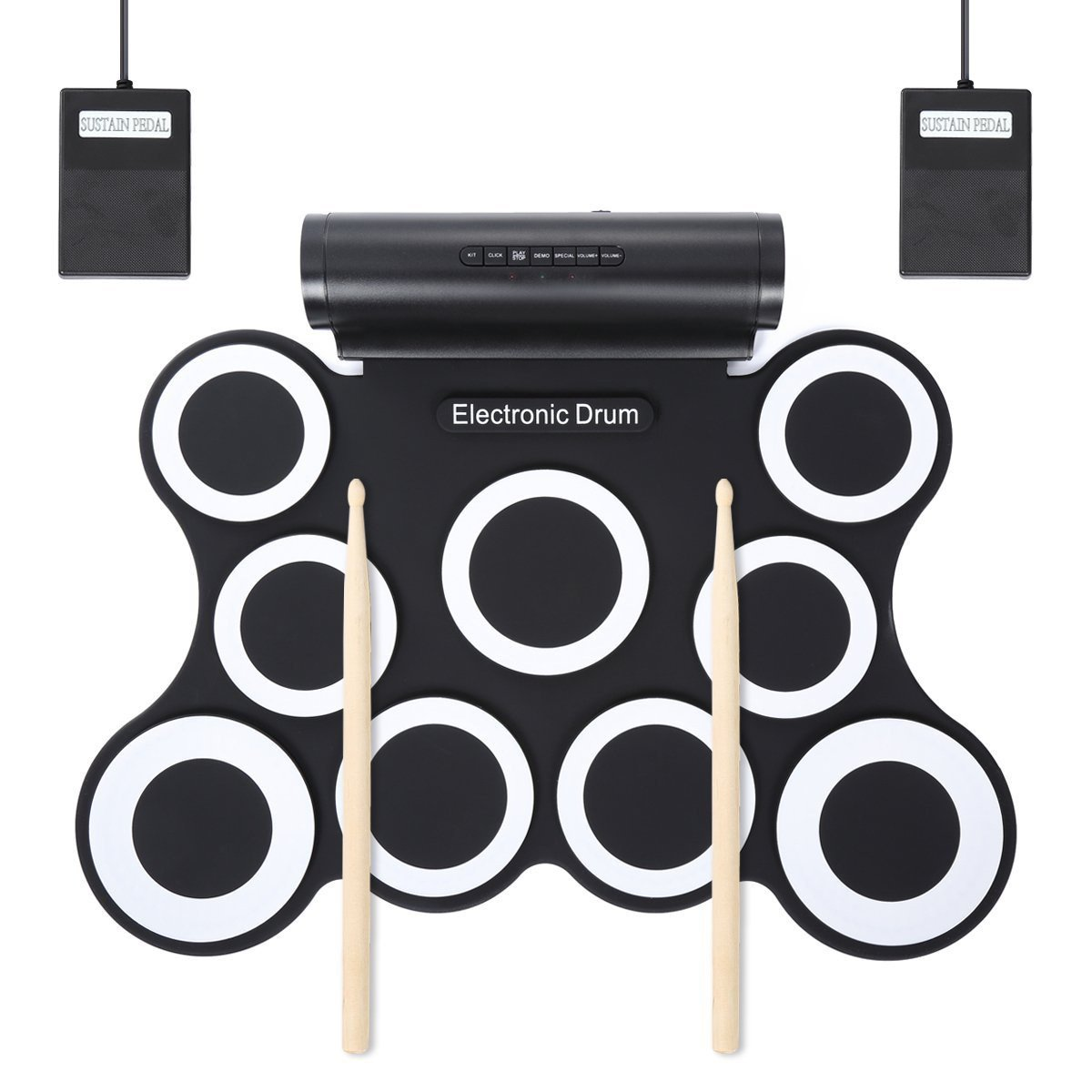 HJJH Portable Drums,Digital Foldable Roll-Up Drum Pad,9 Pad Digital Drum Kit, Touch Sensitivity, Wireless Electric Drums, Drum Machine, Electric Drum Pads by HJJH