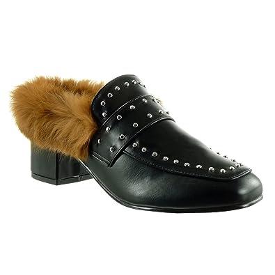 b4dec5f53f558 Angkorly - Women's Fashion Shoes Clogs - Slip-on - Fur - Studded ...