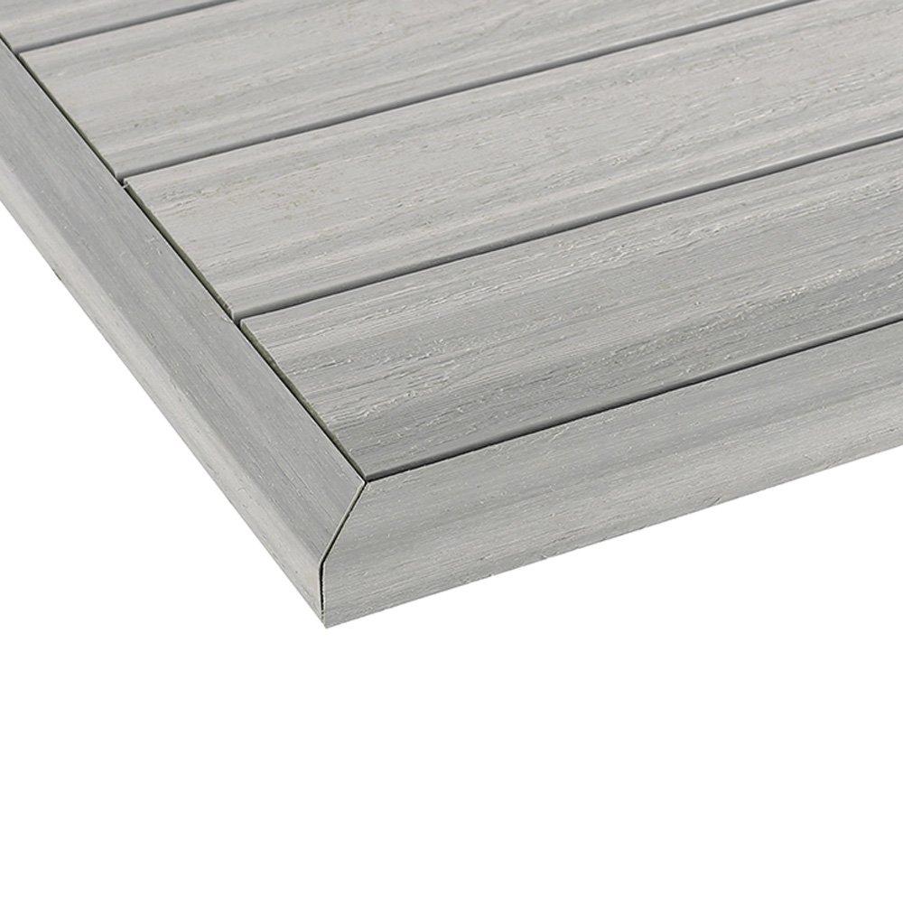 NewTechWood US-QD-OT-ZX-SW 1//6 x 1 ft Quick Composite Deck Tile Outside End Corner Fascia in Icelandic Smoke White 2-Pieces//Box