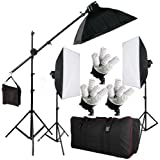 "BPS Photography Continuous Soft Box Lighting Kit Photo Video Studio Control Separately 15 x Lamps 2850W 3 x20""x28""/50x70cm Softboxes + 15 x 190W 5400k Daywhite Bulbs + 3 x E27 5-Socket Light Heads + 2 x 2m adjustable Light Stand + 2.8m Boom Light Stand Support + Boom Arm + Carry Bag"