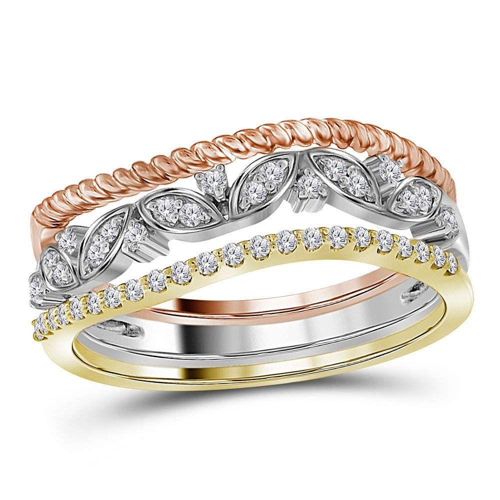 10k Yellow Gold Diamond Fashion Ring Stackable Band Style 1//5 ct