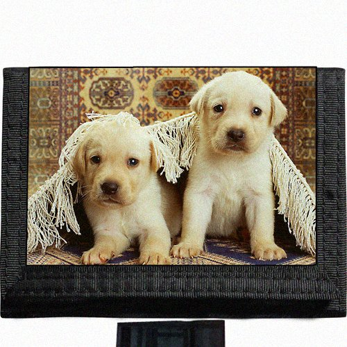 Yellow lab puppies Black TriFold Nylon Wallet Great Gift Idea