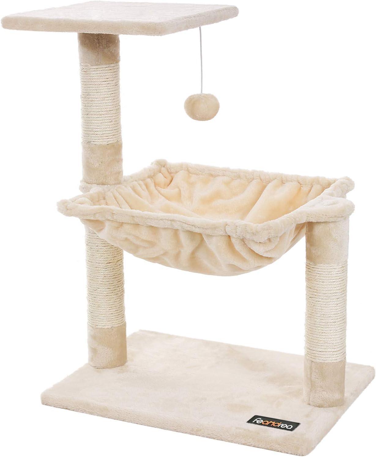 SONGMICS Compacto Árbol para Gatos Rascador con Nido Cuadrado Bola de Juego 70 cm Color Beige PCT82M
