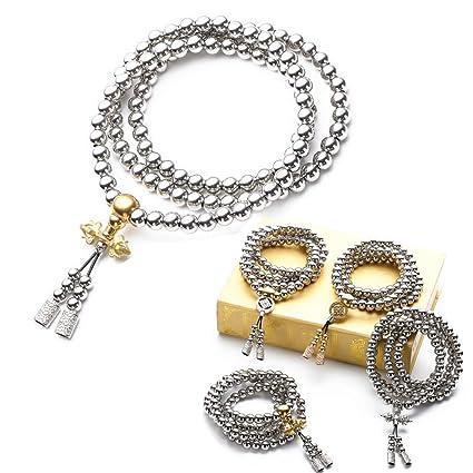 72f4d225c634 Autodefensa collar de acero inoxidable collar de latón chain108 perlas de  Buda decoración del coche