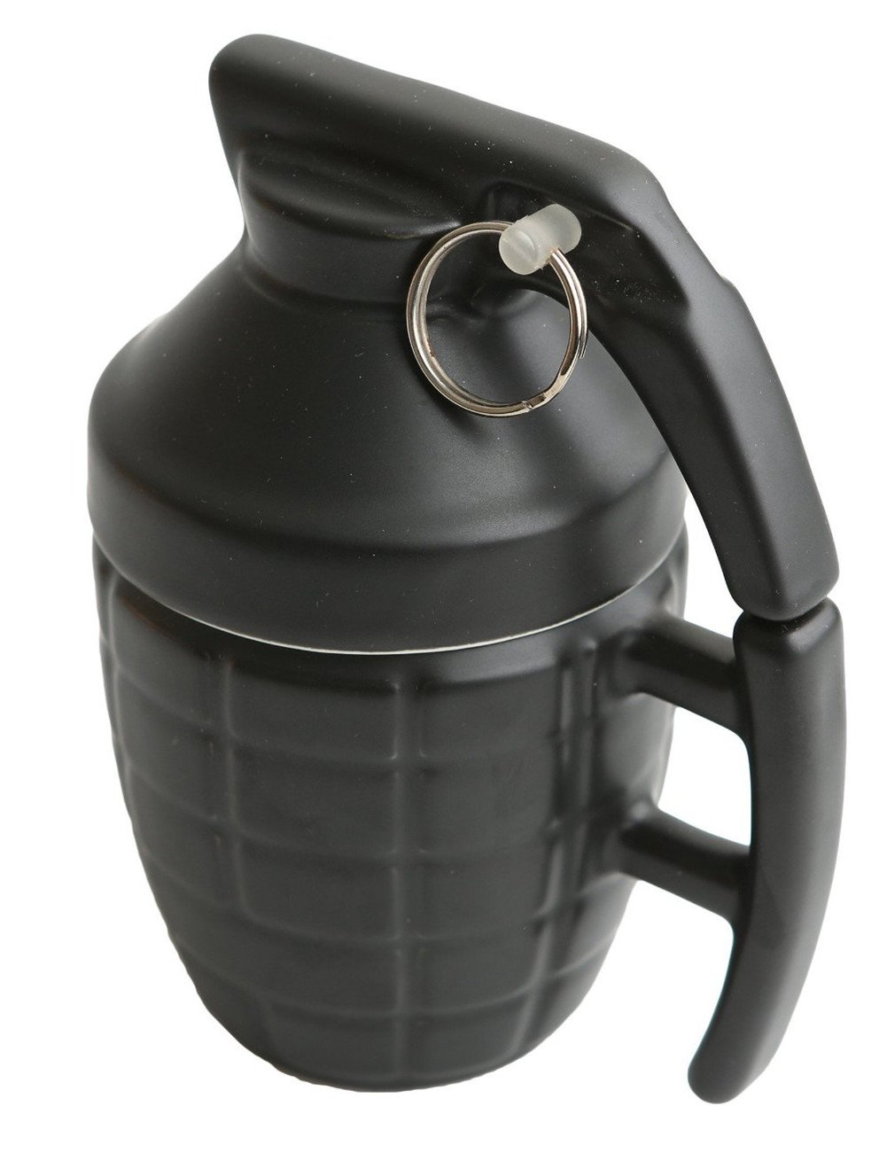 Ailiebhaus 280ML Ceramic Grenade Mug Coffee Cup with Lid, Black