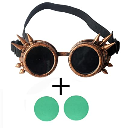 df224813dbbc Amazon.com  Focussexy Vintage Glasses Rave Retro Lenses Steampunk Goggles  Gothicism for Cosplay Halloween Spiked  Arts