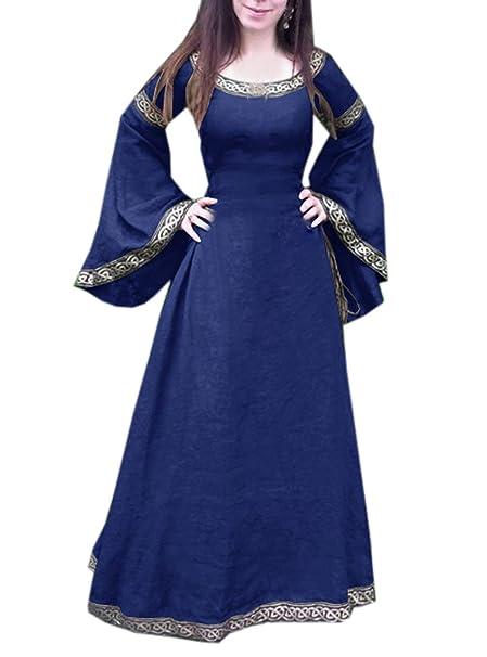 OUFour Primavera y Otoño Mujer Medieval Renacimiento Vintage Disfraz Cuello Redondo Cuerno Manga Vestido Elegante Impresión