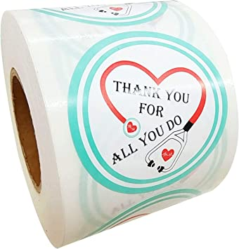 500 Healthcare Workers Thank You Stickers Thank You for All You Do for Us Labels 2