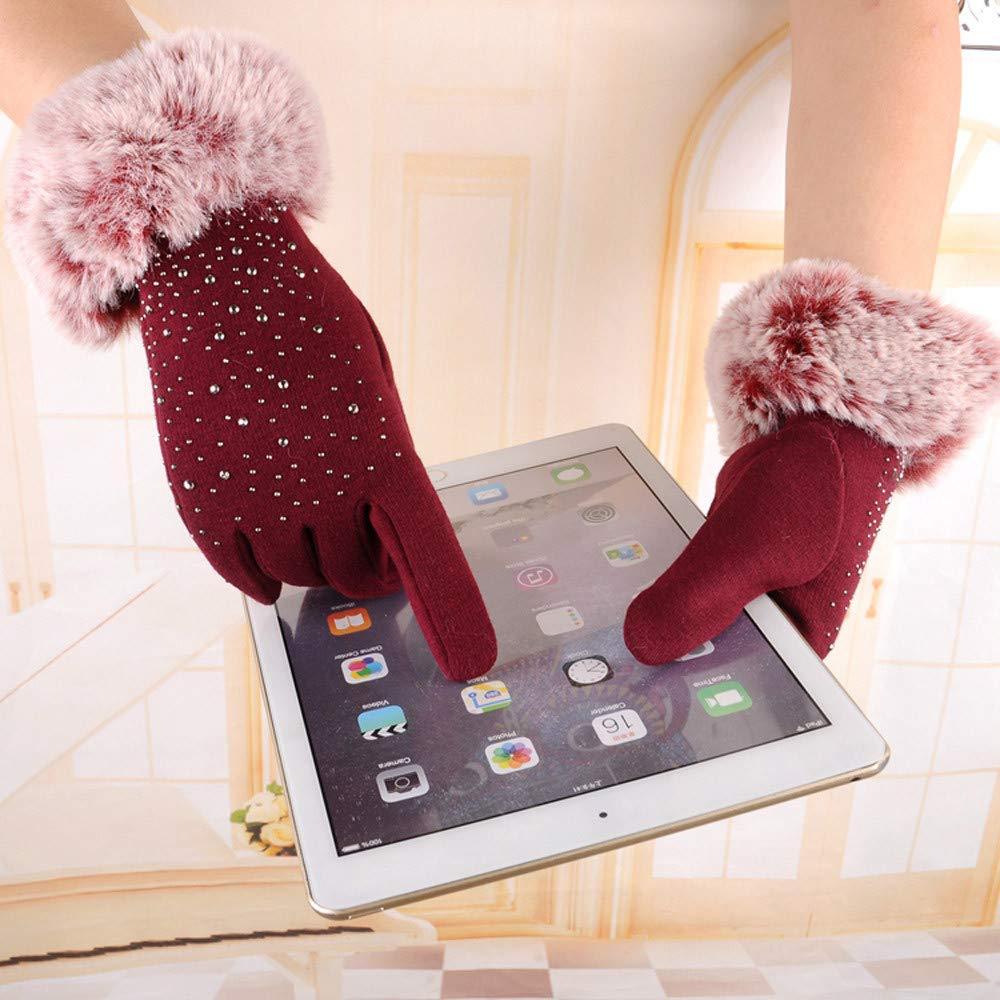 Touch Screen Gloves, Women Fashion Rhinestone Winter Warm Gloves Ski Wind Protect Hands