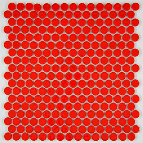 Vogue Tile Penny Round Vintage Red Porcelain Mosaic for Bathroom Floors and Walls, Kitchen Backsplashes, Pool Tile