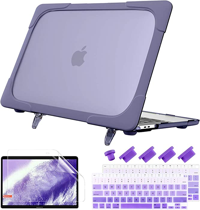 Batianda Shockproof Matte Case for MacBook Air 13 Inch 2020 2019 2018 Model A2337 M1 A2179 A1932 with Touch ID, Heavy Duty Hard Shell Case with Fold Kickstand & Keyboard Cover Skin, Lavender Gray