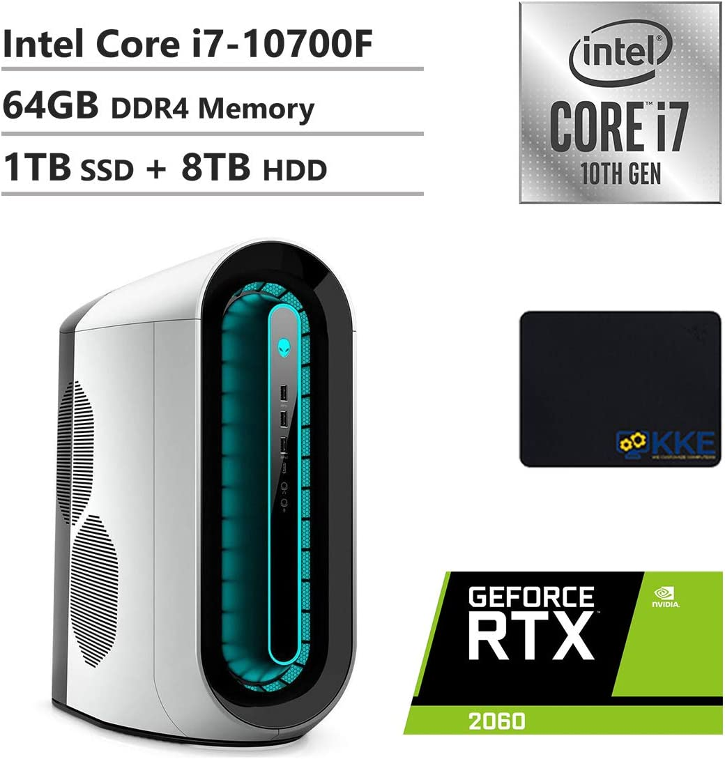 Alienware R11 Gaming Desktop, Intel Core i7-10700F, NVIDIA GeForce RTX 2060, 64GB DDR4 Memory, 1TB PCIe Solid State Drive + 8TB HDD, WiFi, HDMI, KKE Mousepad, White/Lunar Light