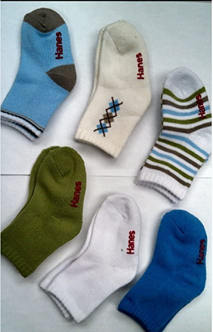 Hanes Boys/' Toddler Crew Non-Skid Socks Size 6; Age 4-5 Years Old Assorted