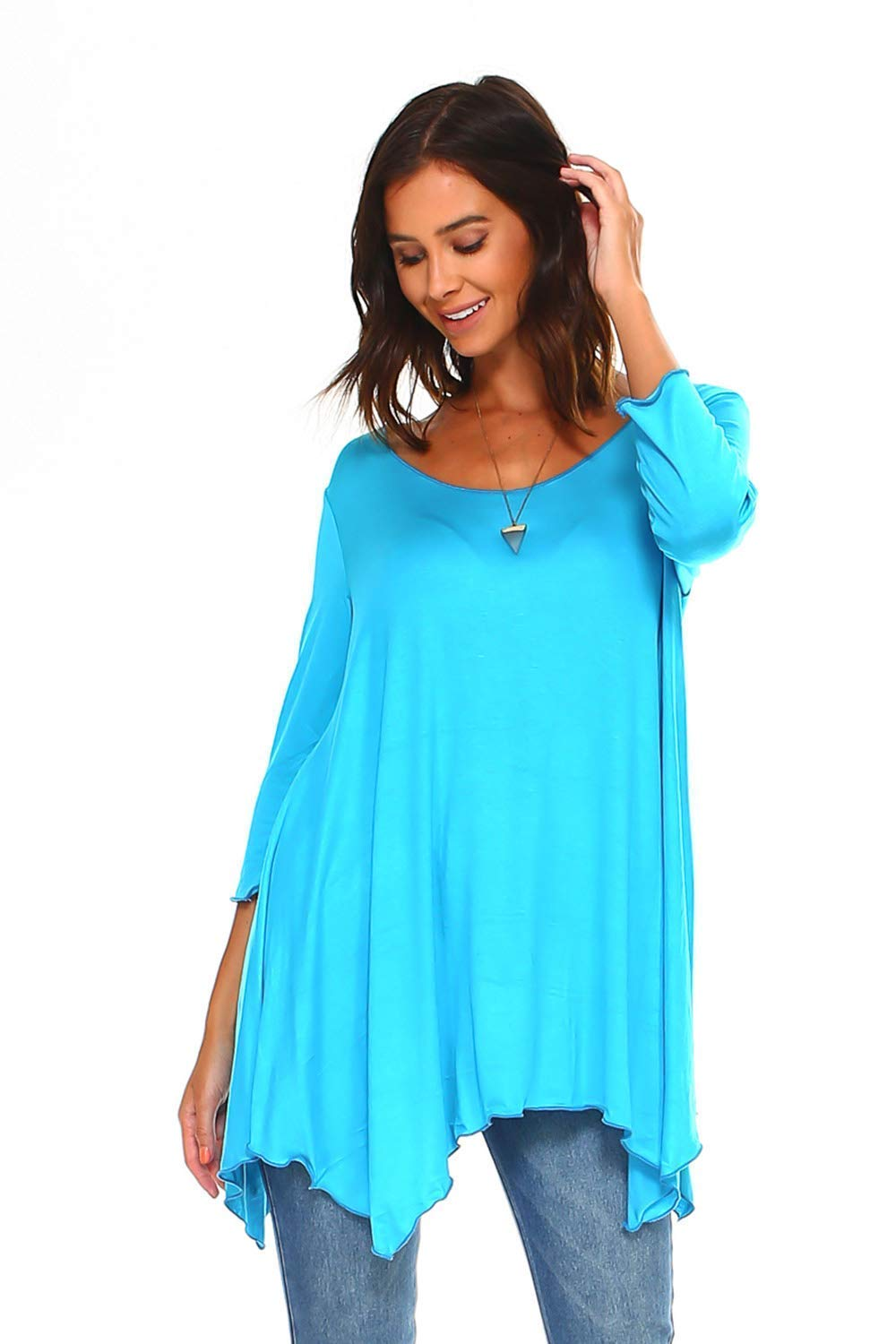 ccee51b1f69 Top1: Simplicitie Women\'s 3/4 Sleeve Loose Fit Flare Swing T Shirt Tunic  Top - Regular and Plus Size - Turquoise - Made in USA